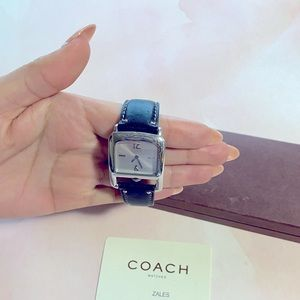 Coach Silver Tone Swiss Movement Square Face Watch